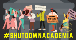 "Graphic associated with the #ShutDownAcademia events on June 10, 2020, featuring protesters of many races with signs reading ""Black Lives Matter"""