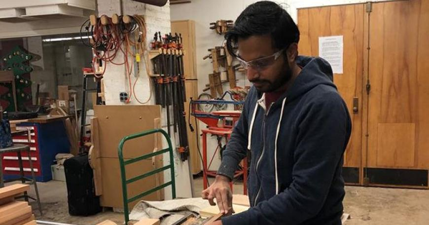 Samip Jain, a graduate student in the Integrated Design and Management program, works on a project in the lab. He has been learning with MIT through open education courses and programs since he was a young high school student.