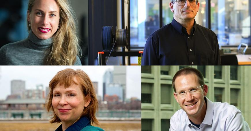 The 2020 MacVicar Faculty Fellows are: (clockwise from top left) Polina Anikeeva, Jacob White, William Tisdale, and Mary Fuller.