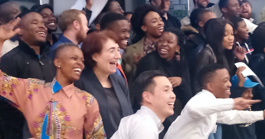 Professor Hazel Sive (front, second from left) visits Tshimologing, a digitial innovation precinct in Johannesburg, South Africa, with some 2019 Global Startup Labs participants.