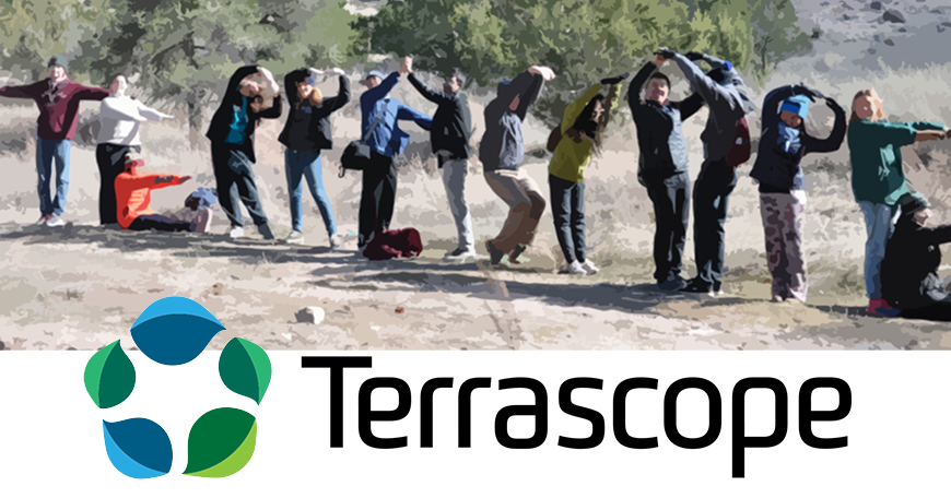 Students spell out Terrscope, making the letters with their bodies.